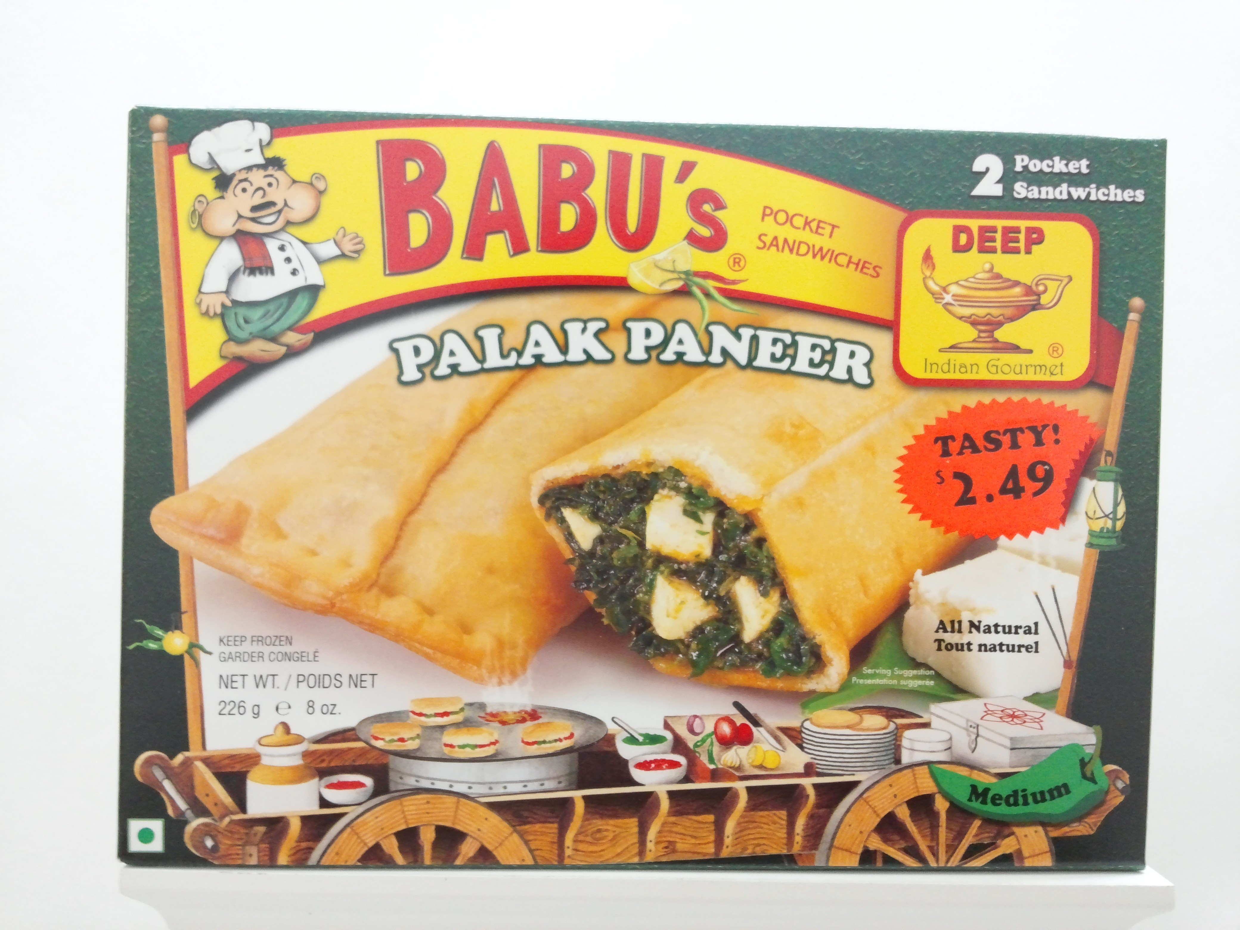 Babu's Palak Paneer Pocket Sandwich 8 oz