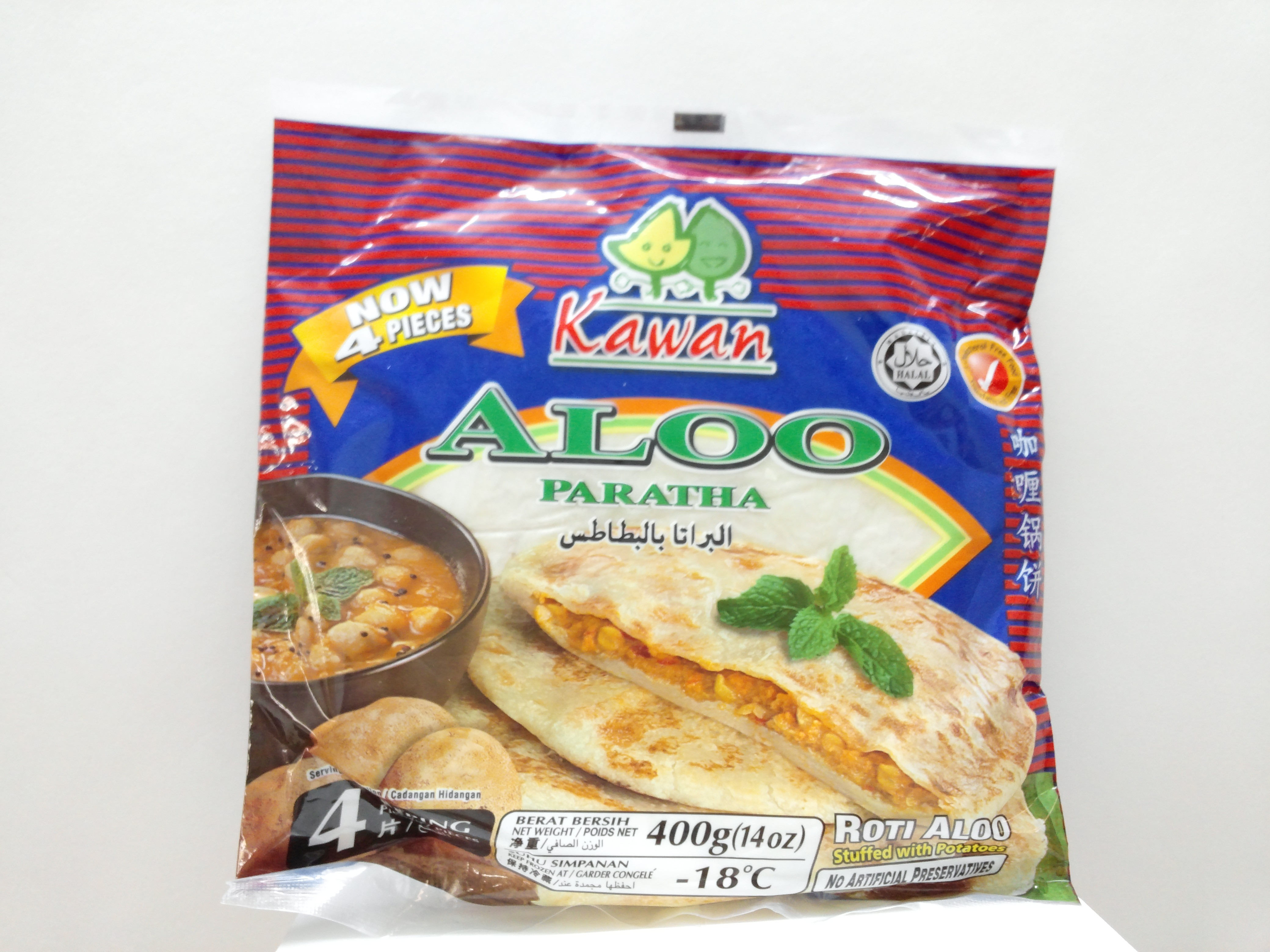 Roti Paratha Kawan Kawan Aloo Paratha 4 Pcs 14 oz