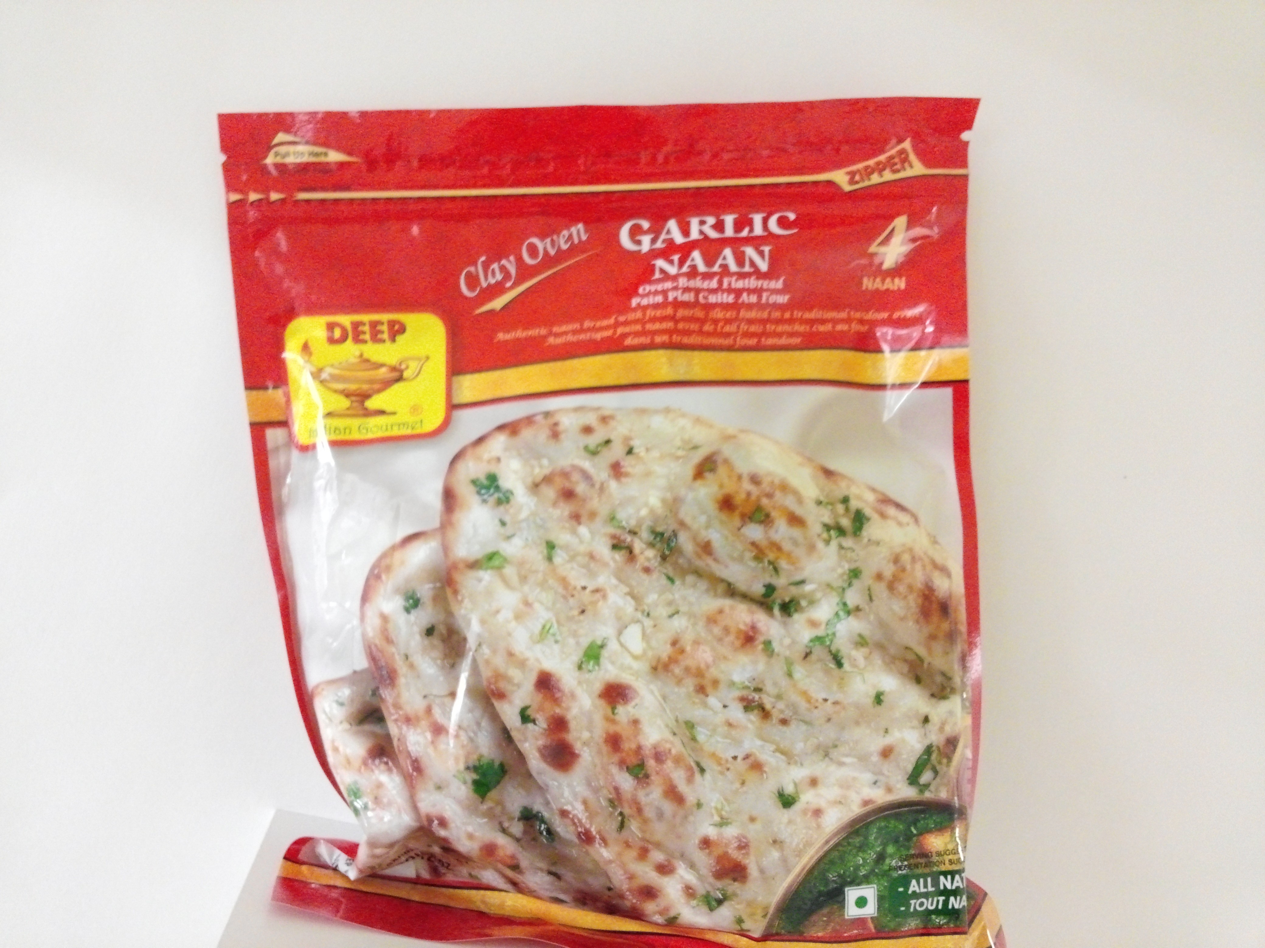 Deep Garlic Naan 4 pcs 12 oz
