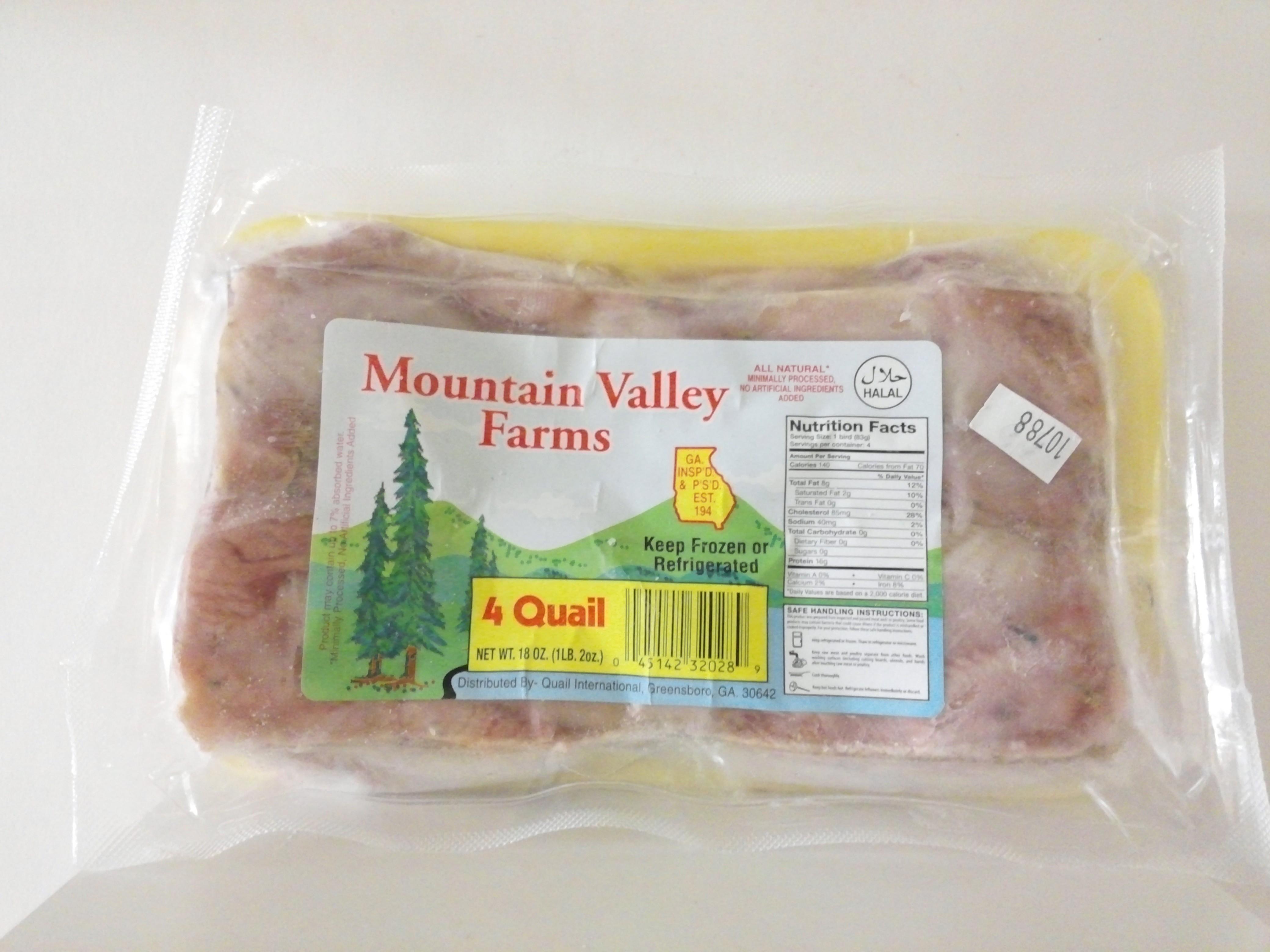 Mountain Valley Farm's Quail, 4nos-18 oz
