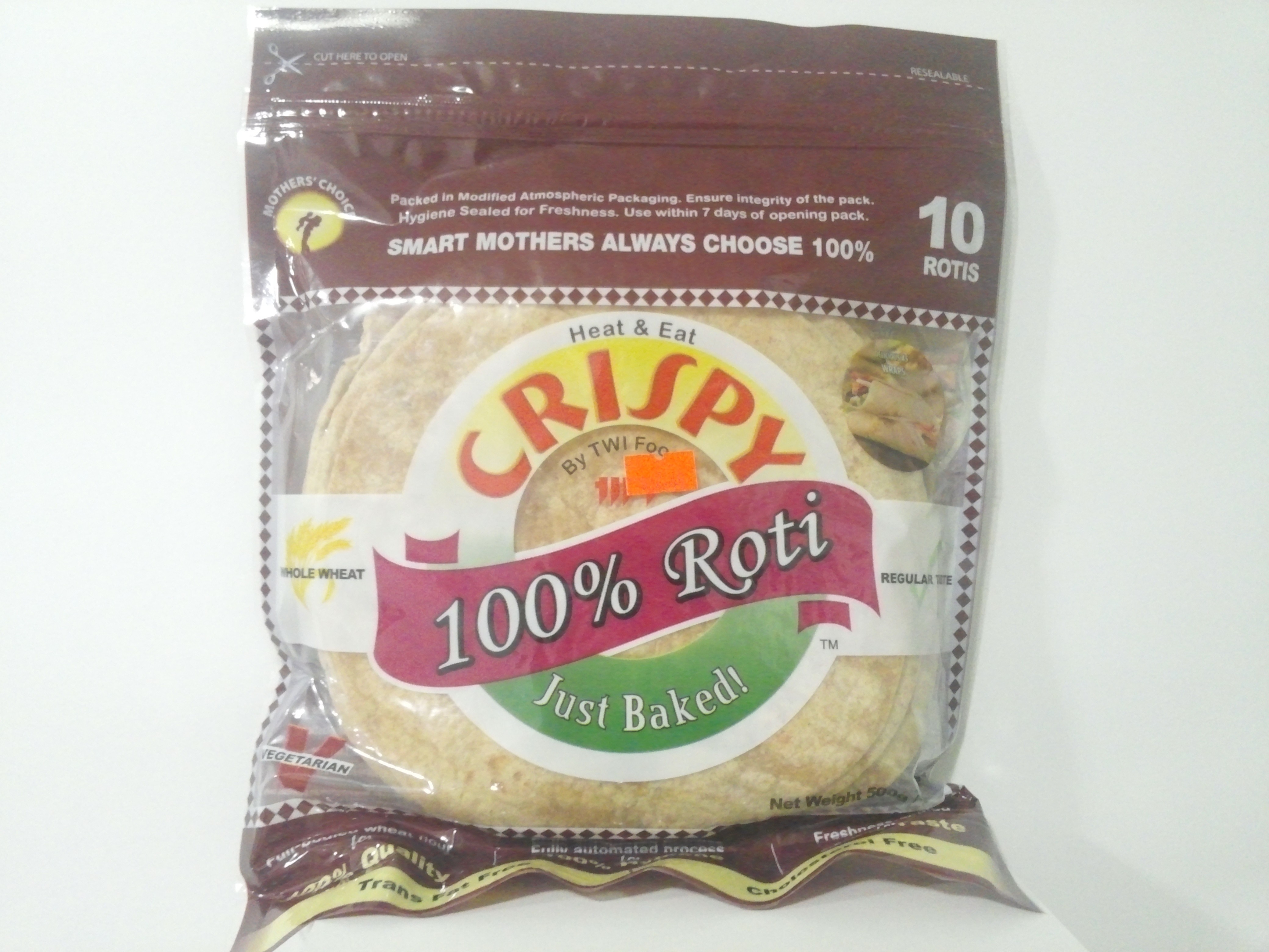 Crispy Whole Wheat Roti 10 Pcs 1.6 oz