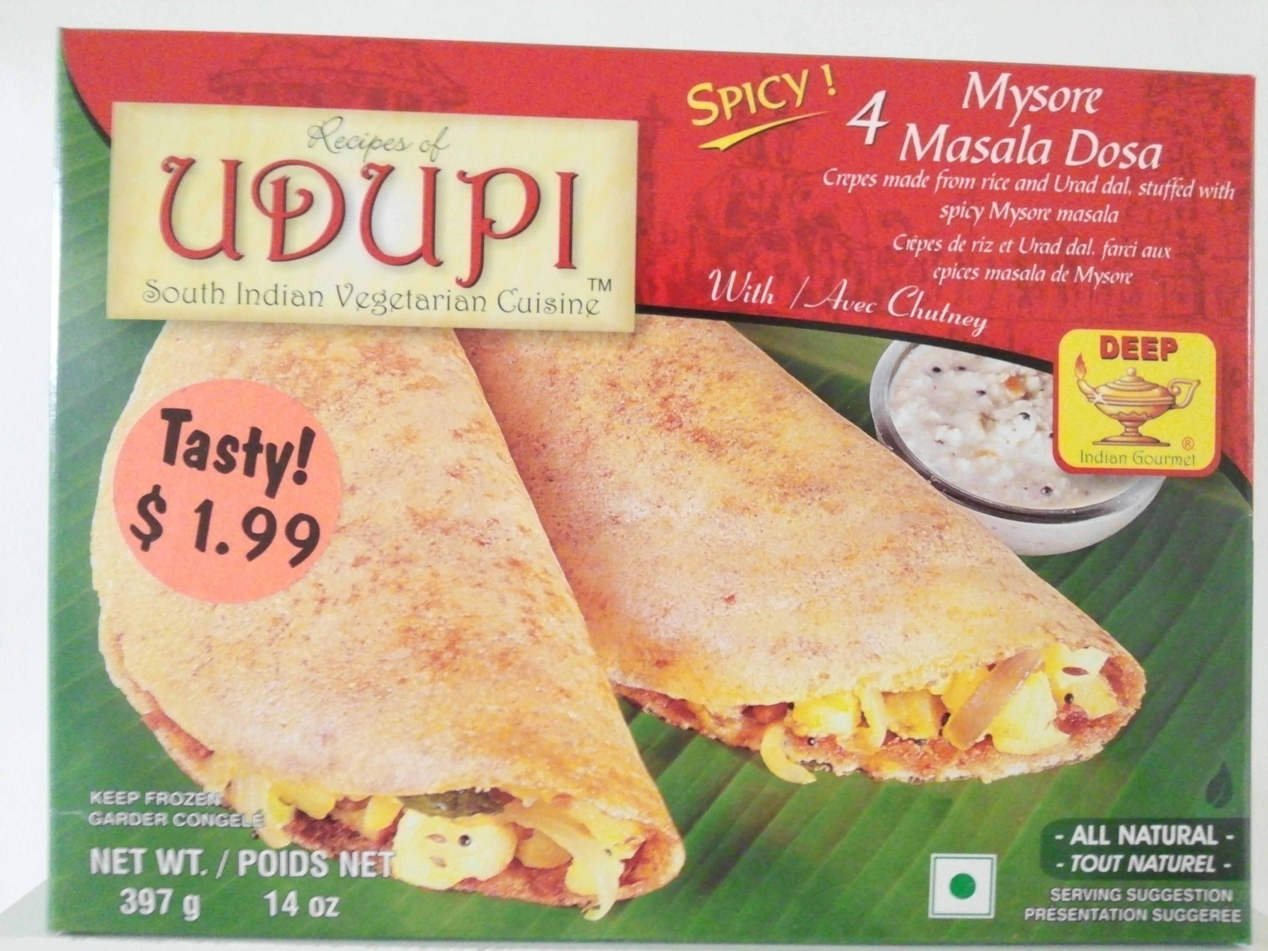 Udupi 4 Pcs Mysore  Masala Dosa 14 oz