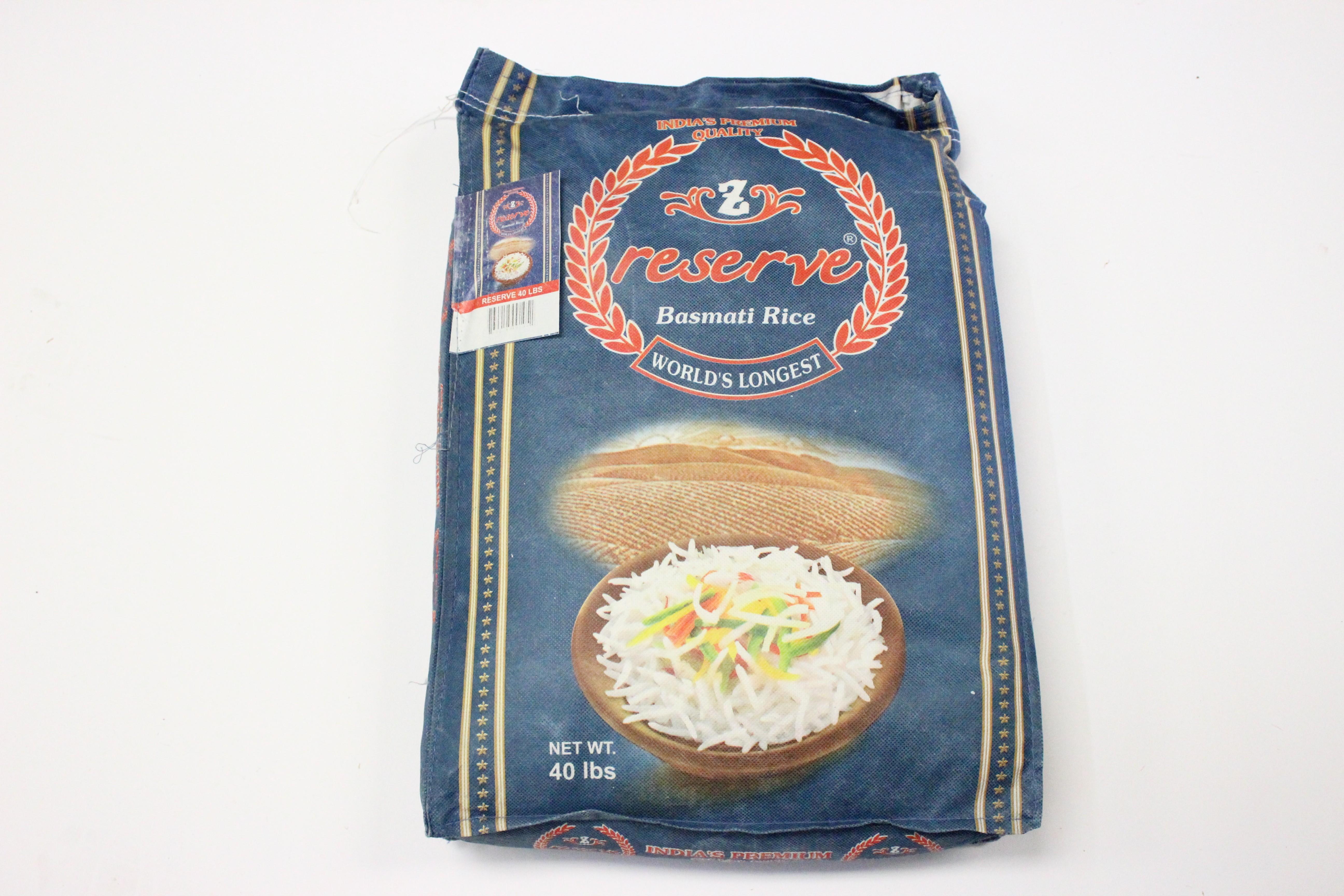 Zafarani Reserve Basmati Rice 40lb
